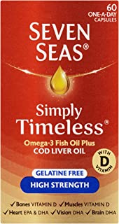 Seven Seas Pure Cod Liver Oil High Strength With Omega 3 Plus Vitamins D & E 60 Capsules