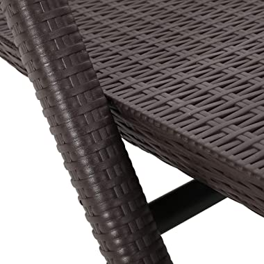 Christopher Knight Home Blanche Outdoor Faux Wicker Chaise Lounges (Set of 2), Dark Brown