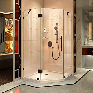 DreamLine Prism Lux 40 in. x 74 3/4 in. Fully Frameless Neo-Angle Shower Enclosure in Oil Rubbed Bronze with Biscuit Base