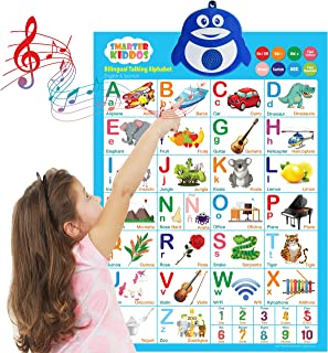Bilingual Talking Alphabet Poster: Music + ABC + 123s English & Spanish. Best Toddler Educational Toys & Learning toys for 2-5 years olds. Perfect for Daycare, Preschool, Kindergarten for Boys & Girls