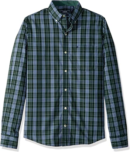 IZOD Hommes's Essential Plaid manche longue Shirt, Darkest Spruce, grand Slim