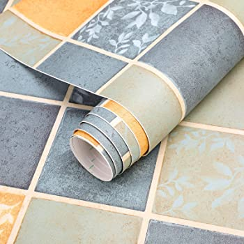 PVC Bodenbelag selbstklebend Bodenfliesen Abriebfester Vinyl Boden 3㎡//Rolle Flisenoptik Klebefolie Matt Flisenaufkleber Dekorfolie 60x500 cm