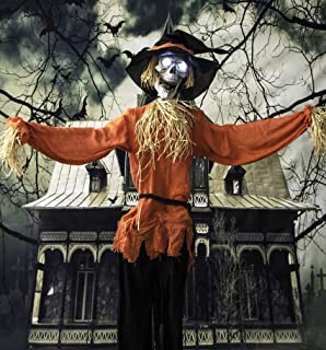 Haunted Hill Farm HHSCR-1FLSA Life-Size Animated Skeleton Scarecrow Prop w/Rotating Head, Battery-Operated Indoor/Outdoor Halloween Decoration, Color 1