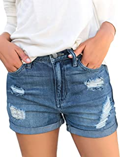 GRAPENT Women's High Waist Jean Short Casual Ripped Folded Hem Denim Jeans Shorts