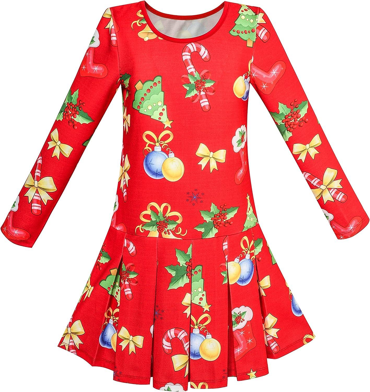 Sunny Fashion Girls Dress Christmas Tree Xmas Stockings Holiday Size 4-10