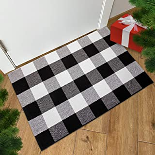 Black and White Buffalo Plaid Rug - 24x36 + Upgraded Anti-Slip Mat, Outdoor/Indoor Front Porch Check Doormat, Welcome Smal...