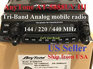 AnyTone AT-5888UV III Tri-Band 136-174Mhz & 220-260 & 400-490Mhz Mobile