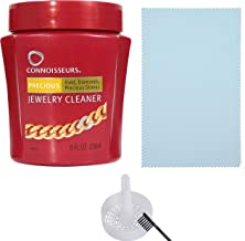 CONNOISSEURS Jewelry Cleaner, for Silver, Diamond, Platinum, Gold & Precious Stones with polishing Cloth, Brush & dip Tray - Options 2 Pack or 3 Pack