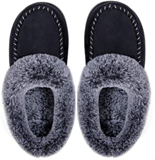ULTRAIDEAS Women's Cozy Memory Foam Moccasin Suede Slippers with Fuzzy Plush Faux Fur Lining, Ladies' Slip on House Shoes ...