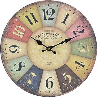 comprar comparacion Reloj de cocina de madera con un gran reloj de MDF, reloj retro diseño tendencia Shabby Chic con movimiento silenci...