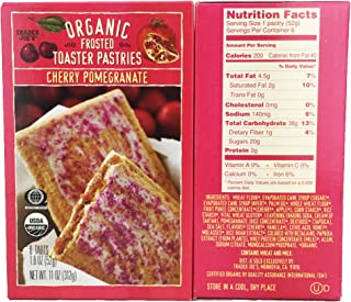 Trader Joes Organic Cherry Pomegranate Frosted Toaster Pastries, 11 Oz (2 packs- 12 tarts total)