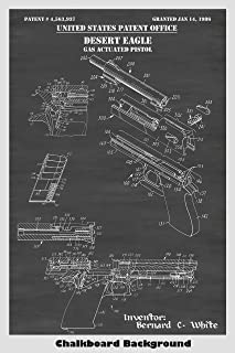Desert Eagle Pistol Patent Print Art Poster: Choose From Multiple Size and Background Color Options