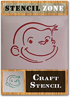 Curious George Monkey Character Mylar Airbrush Painting Wall Art Crafts Stencil (A4 Size Stencil - Small)