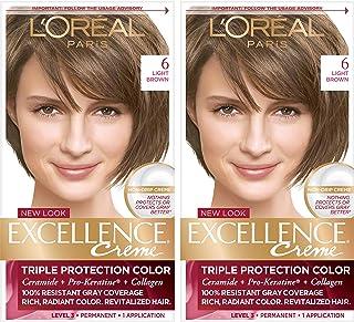 L'Oréal Paris Excellence Créme Permanent Hair Color, 6 Light Brown, 2 COUNT 100% Gray Coverage Hair Dye