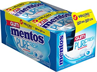 Mentos Pure Fresh Sugar-Free Chewing Gum with Xylitol, Fresh Mint, Stocking Stuffer, Gift, Holiday, Christmas, 12 Piece Resealable Pouch (Pack of 10)