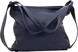 Primo Sacchi® Ladies Italian Textured Leather Grab Shoulder Bag Handbag Back Pack Rucksac. Incudes Branded Protective Storage Bag