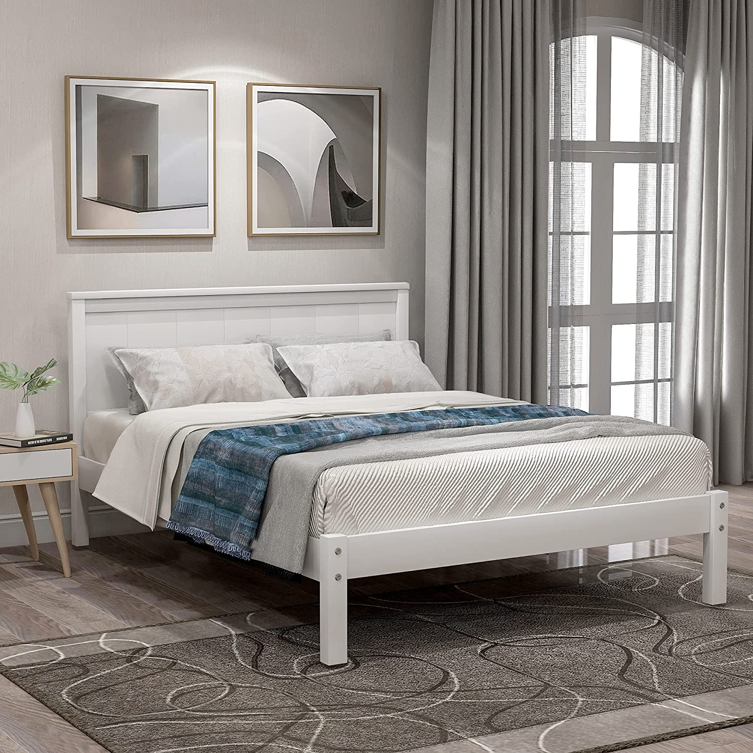 Twin Max 48% OFF Size Solid Chicago Mall Wood Platform with Headboard No Frame Bed