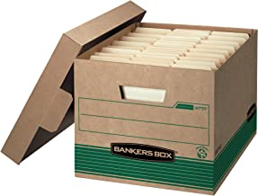 Bankers Box STOR/FILE Medium-Duty Storage Boxes, FastFold, Lift-Off Lid, 100% Recycled, Letter/Legal, Case of 12 (12770)