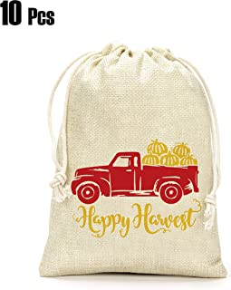 Thanksgiving Day Gifts Bags- Happy Harvest Gifts Bags, Pumpkin Truck Gifts Bags, Thanksgiving Day Decoration, Holiday Supplies- Set of 10