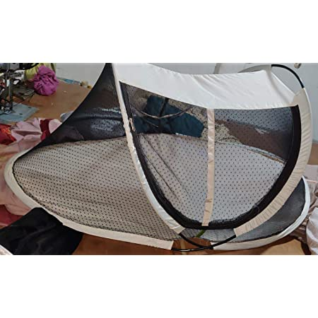M F Emporium Baby Mosquito Net Foldable, Breathable Fabric Mesh,Eco-Friendly, Mosquito Repellent (Black, 0-3 Year)