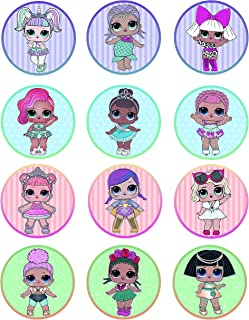 Surprise Dolls Cupcake Topper Icing Sugar Paper (12 Rounds) on Sheet Edible Frosting Photo Birthday Cake Topper (Best Quality Printing)