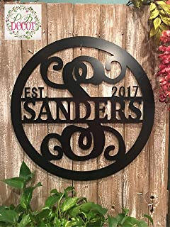 Personalized Last Name Sign Weatherproof 24 inch ACM Metal Monogram Letter Wall Decor Family Established Signs Custom Door Hanger Monogram Outdoor Patio Sign Wedding Gift Anniversary