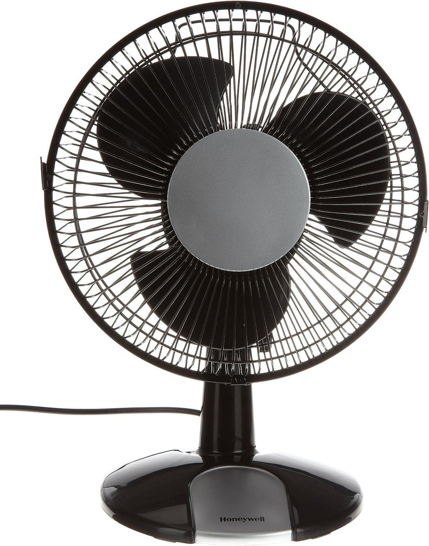 Honeywell HT109E HT109E-Ventilador de Mesa oscilante, Color Negro/Plateado, 28 W