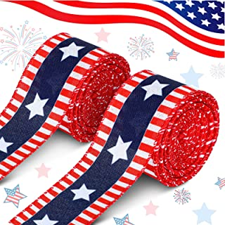 Giegxin 2 Rolls Stars and Stripes Wired Edge Ribbon Blue Red White Patriotic Ribbon Independence Day Ribbon for Holiday Pa...
