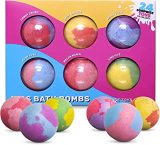 SPLASHOO Bath Bombs for Kids, Gift Set of 6 Huge 5oz Fizzies, Girls and Boys with Surprise Unisex Toys Inside - Long Fizzi...