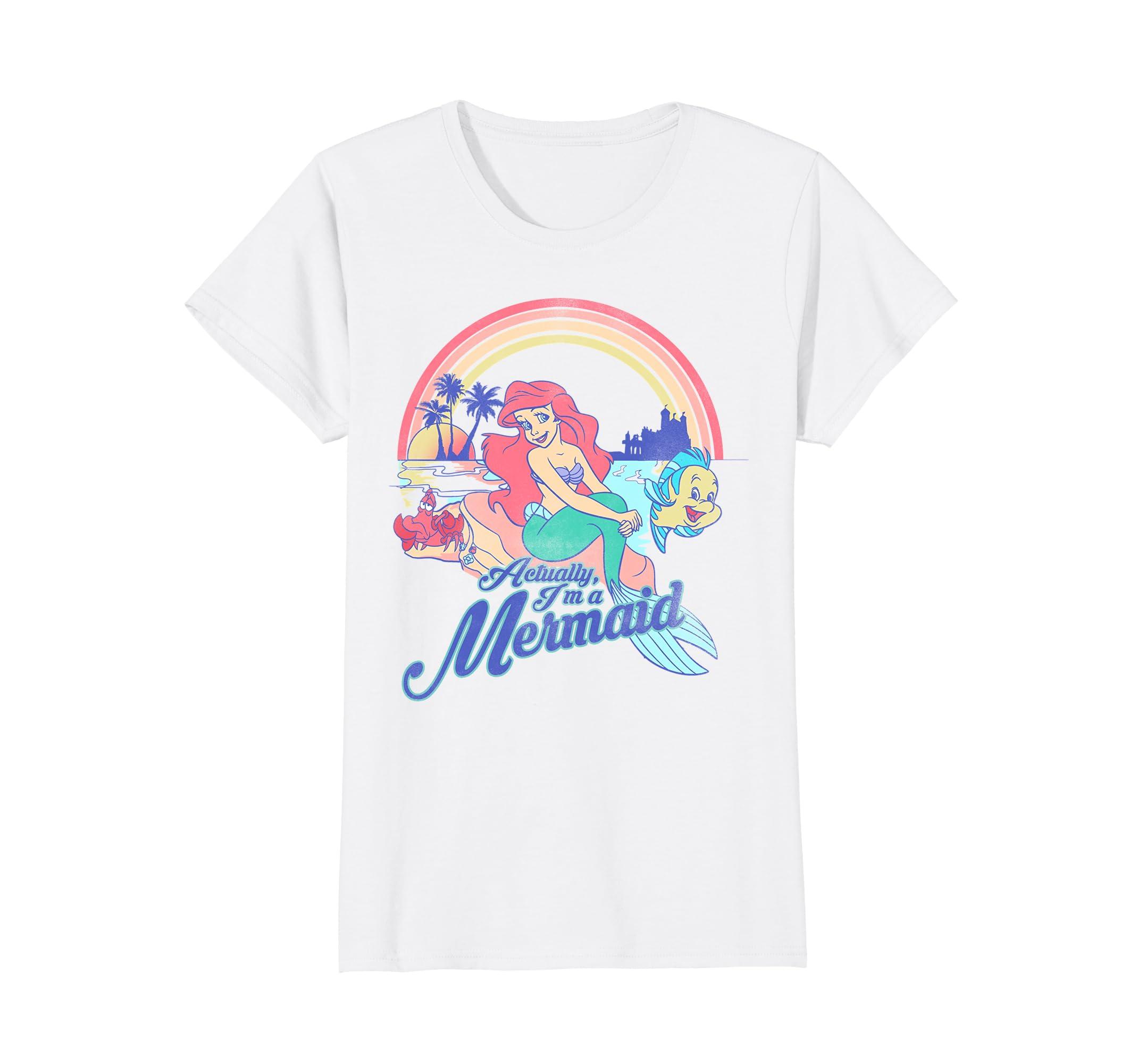 0409cf0b6b3 Amazon.com  Disney Little Mermaid Pastel Rainbow Retro Graphic T-Shirt   Clothing