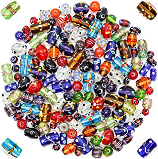 Glass Beads for Jewelry Making Supplies for Adults, 120-140 Pcs Bulk Kits - Premium Assorted Mix of Large Craft Lampwork Murano Beads for Bracelet and Necklace Crafting Supplies Kit