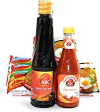Stir Fry Sauce Sweet & Spicy Variety Pack | ABC Sweet Soy Sauce Kecap Manis 20.2 Oz Bottle & ABC Original Chili Sauce Sambal Asli 11.3 Oz Bottle| Bonus 5 Free Packs Mi Goreng Indomie Instant Noodles |