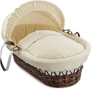 Clair de Lune Stardust Dark Wicker Moses Basket (Cream)
