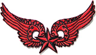 Red Nutical Angel Wings Logo Lady Biker Rider Punk Rock Tatoo Jacket T-shirt Patch Sew Iron on Embroidered Sign Badge Costume