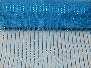 Floral Supply Online - 10 inch x 30 feet Metallic Deco Poly Mesh Ribbon (Turquoise, 10