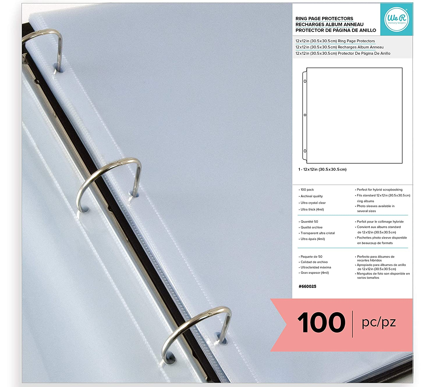 American Crafts 12 x 12-inch 3-Ring Album Page Protectors by We R Memory Keepers | 100 Pack