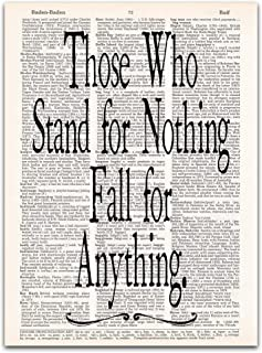 Those Who Stand for Nothing Fall for Anything, Hamilton Quote, Dictionary Page Art Print, 8x11 inches, Unframed