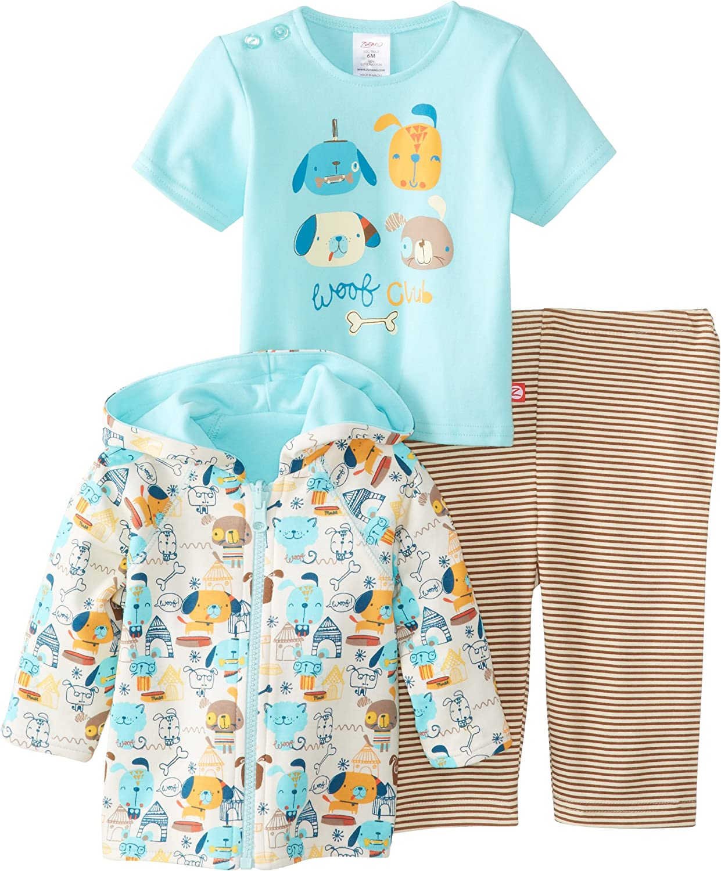 Zutano Baby Boys Woof Club Hooded Sweatshirt with Screen Tee and Pant Set