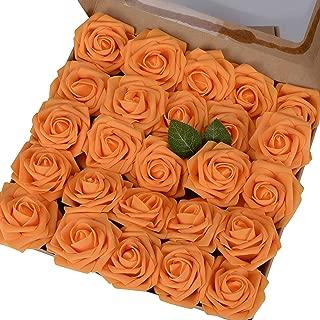 Breeze Talk Artificial Flowers Orange Roses 25pcs Realistic Fake Roses w/Stem for DIY Wedding Bouquets Centerpieces Arrangements Party Baby Shower Home Decorations (25pcs Orange)