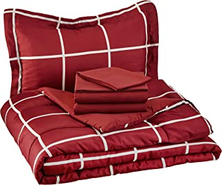 AmazonBasics 5-Piece Bed-In-A-Bag, Twin / Twin Extra-Long Bedding Comforter Sheet Set, Burgundy Simple Plaid, Microfiber, Ultra-Soft