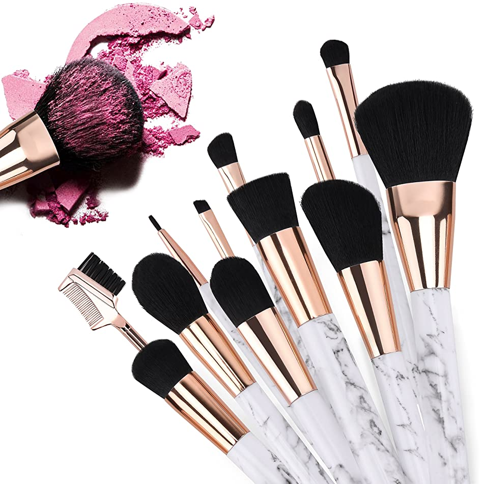 GotechoD Make Up Brushes Set 12Pcs, Girls Marble Makeup Brushes Set Foundation Cosmetic Blending Brushes, Professional Eyeshadow Face Powder Cream Brushes Set Kit for Women