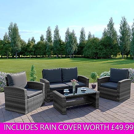 29386620717b Abreo Mixed Grey Rattan Weave Sofa Set Garden Furniture Conservatory  Light/Dark Cushions (Dark