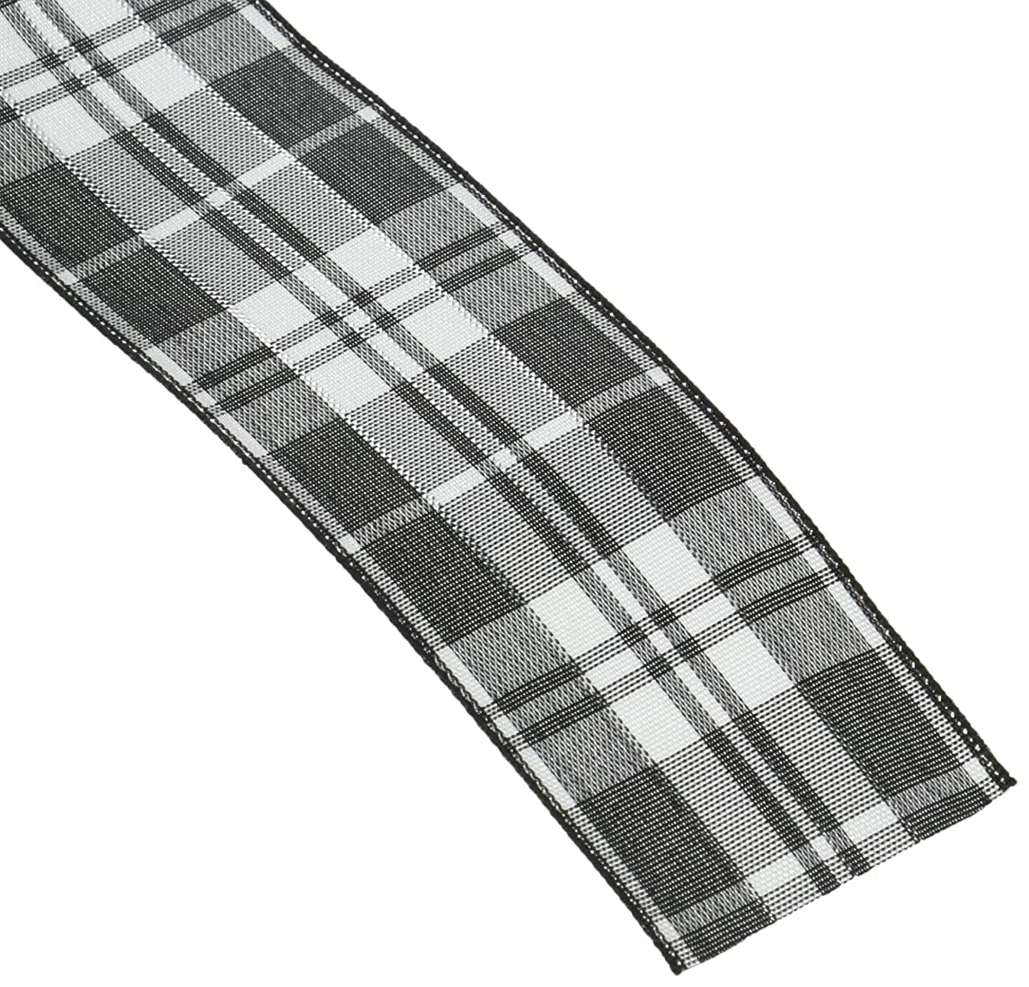 Homeford Firefly Imports Plaid Checkered Wired Christmas Ribbon, 1-1/2-Inch, 10 Yards, Black, 1.5
