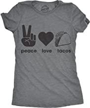 Womens Peace Love Tacos Tshirt Funny Food Tee for Ladies