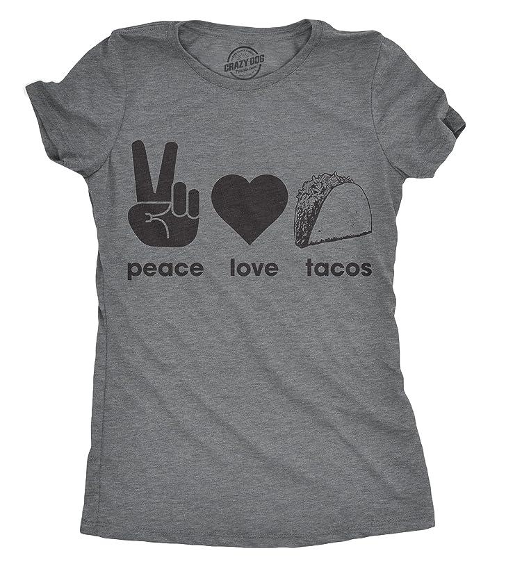 Womens Peace Love Tacos Tshirt Funny Food Tee for Ladies