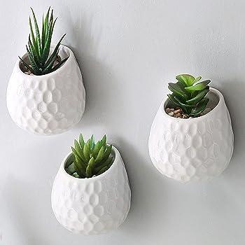MyGift Set of 2 Matte White Ceramic Round Succulent and Flower Planter Pots