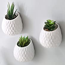 MyGift 4-Inch Golf Ball-Inspired White Ceramic Wall-Mountable Mini Planters, Hanging Succulent Pots, Set of 3