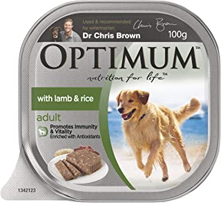 OPTIMUM Adult Lamb and Rice Wet Dog Food 100g Tray, 12 Pack, Adult, Small/Medium/Large