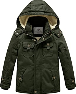 WenVen Boy's and Girl's Cotton Heavy Twill Hooded Jacket