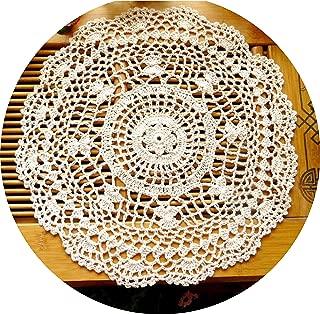 Laivigo New Handmade Crochet Cotton Lace Round Table Placemats Doilies Doily,2PCS,12 Inch,Beige